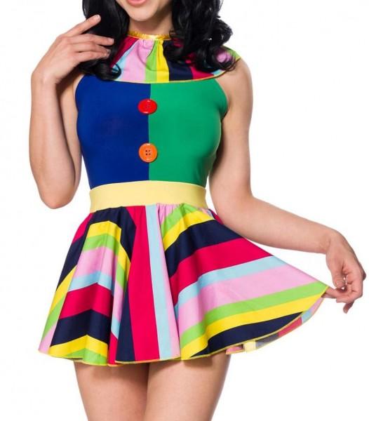 Damen Clown Outfit Kostüm Verkleidung buntes Kleid mit aufgesetzten Knöpfen im Vorderteil kurzes Roc