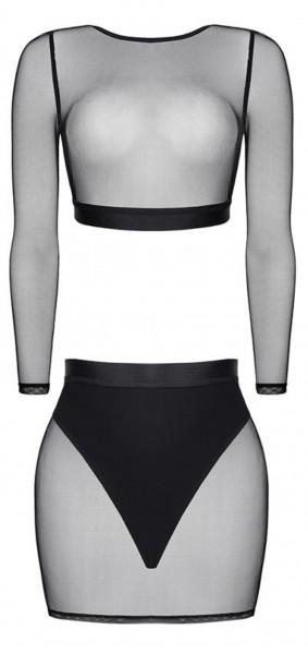 Schwarzes Reizwäsche Set aus Top und Rock transparent dehnbar aus Netzstoff Gogo Outfit