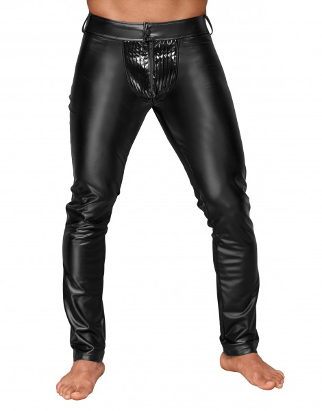 Herren wetlook Hose mit dekorativen PVC Zierfalten und Gesäßtaschen Männer Pants schwarz