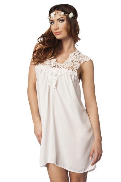 Damen Sommerkleid in weiß mit Häkel Spitze luftiges Minikleid Strandkleid