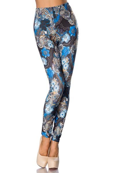 Leggings mit Paisley und Blumen Muster blickdicht ausgefallens Print Muster