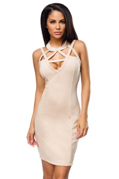 Beiges Partykleid knielang Kleid mit Ausschnitt und Kragen mit Klettverschluss elegantes Damen Abend