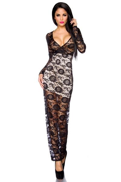 Schwarzes langes transparentes Abendkleid aus Spitze mit Blumenmuster und V-Ausschnitt