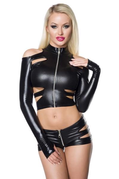 Schwarzes Frauen Gogo Wetlook-Set aus Jacke langärmlig und Hotpants mit Cutouts erotisch elastisch