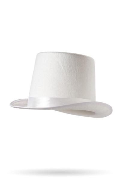 Weißer Damen Zylinder mit eingefasste Krempe Weißem Satin Band und Fasching Verkleidung Hut
