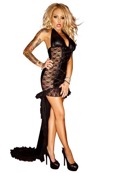 Schwarzes erotisches langes wetlook Kleid mit Spitze Damen Dessous wetlook Kostüm halbtransparent