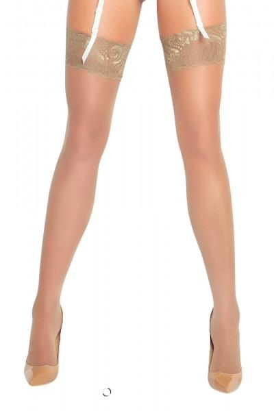 Damen Dessous Stockings Straps-Strümpfe transparent natur mit Spitze OneSize S-L
