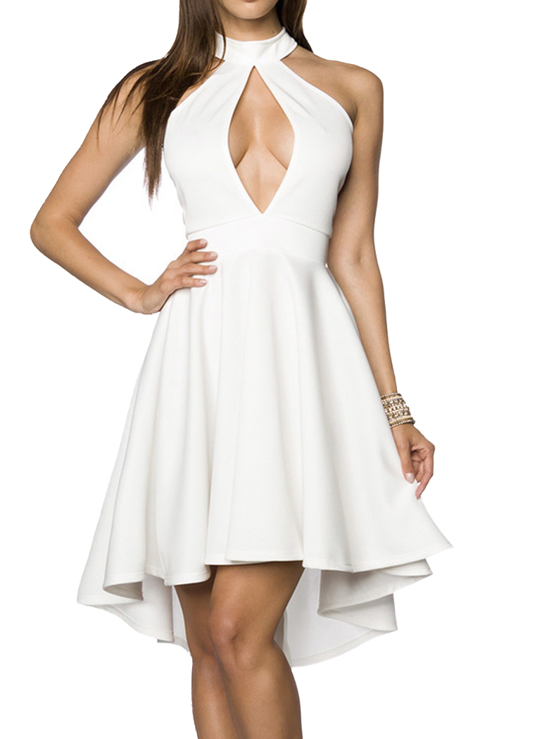 1a70e04393f ... Vorschau  Weißes Neckholder Sommerkleid mit ausgestelltem Rockteil und  tiefem Ausschnitt vorn und hinten asymm ...