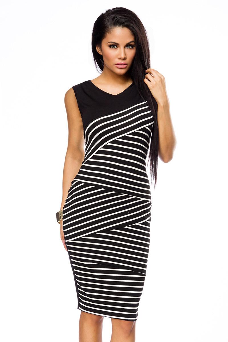 Elegantes Abendkleid Bleistiftkleid in schwarz weiß mit Streifen und  V-Ausschnitt Damen Kleid kniela