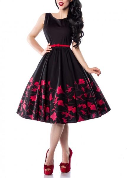 Schwarzes weites Rockabilly Kleid mit Blumenmuster und Gürtelschlaufen sowie seitlichem Reißverschlu