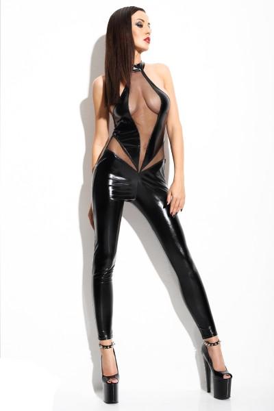 Schwarzes Damen Dessous Catsuit wetlook Neckholder Body in schwarz mit T-String