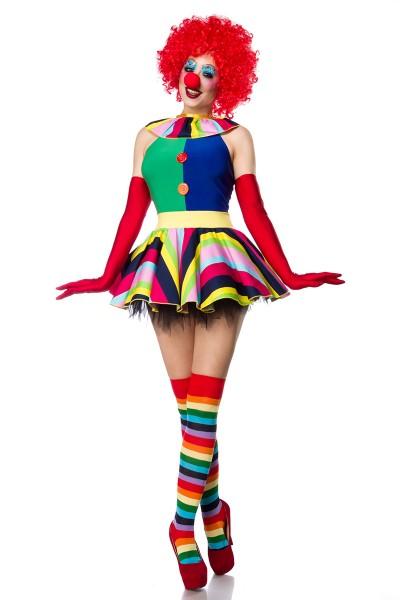 Damen Clown Outfit Kostüm Verkleidung mit Kleid, Perücke, Nase, Strümpfe und Handschuhe in bunt