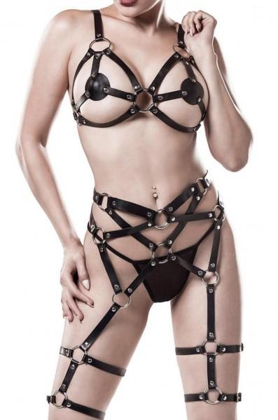 Schwarzes Damen Bänder Strapsset mit tiefem Ausschnitt BH Oberteil und String gekreuzte Bänder mit S