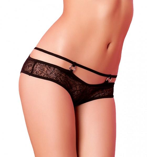 Schwarzer transparenter Slip Panty aus Spitze mit Bändern Ringe Blumenmuster-Slip Ausschnitt knapp