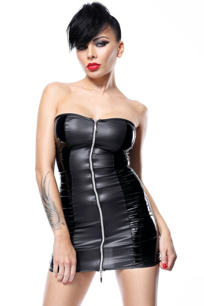 Schwarzes Erotisches Damen Dessous fetisch wetlook Minikleid mit Reißverschluss und Schnürung inkl S