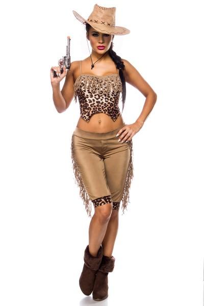 Damen Cowgirl Kostüm Verkleidung mit Leopard Muster und Fransen mit Top, Hose, Cowboyhut Onesize
