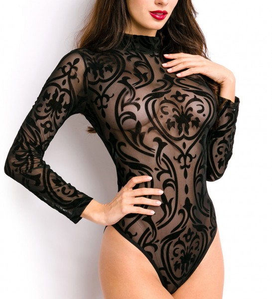 Schwarzer transparenter Body mit Muster und langen Ärmeln Stehkragen hochgeschlossen