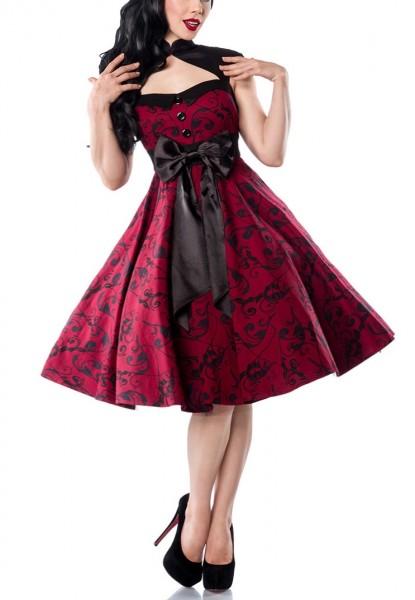 Rotes ausgestelltes Rockabilly Kleid mit großer Satinschleife vorn und Rückenausschnitt