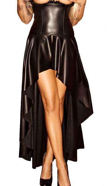 Schwarzes Damen Dessous fetisch Maxikleid wetlook Kleid mit Schnürung brustfrei lang