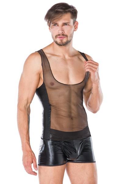 Herren wetlook Dessous Set aus Hemd und Boxer-Shorts in schwarz transparent Männer Unterwäsche