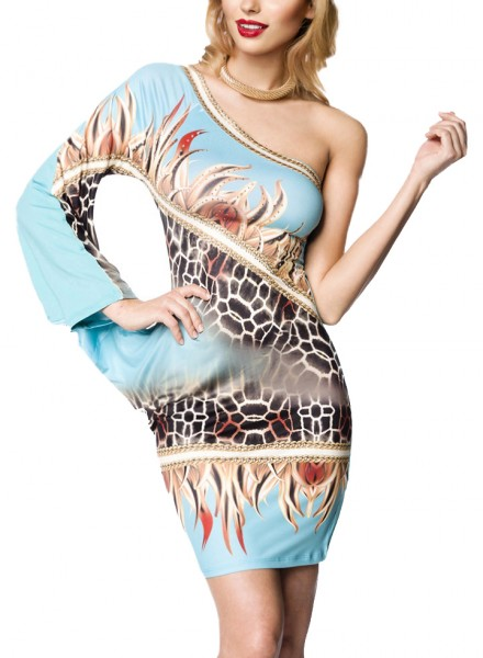 Kurzes blaues Sommerkleid mit einem Arm Strass und Tierdruck Muster asymmetrisch geschnitten