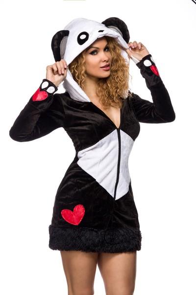 Damen Pandabär Kostüm Verkleidung aus samtartigem Material und gefütterte Kapuze Onesize
