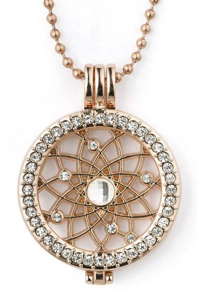 Kette mit Medaillon Kugelkette aus Metrall und Strassteinen Schmuck Anhänger rosegold