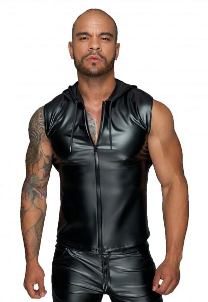 Herren Kapuzenshirt mit Zwei-Wege Reißverschluss Männer Shirt ohne Ärmel in wetlook schwarz