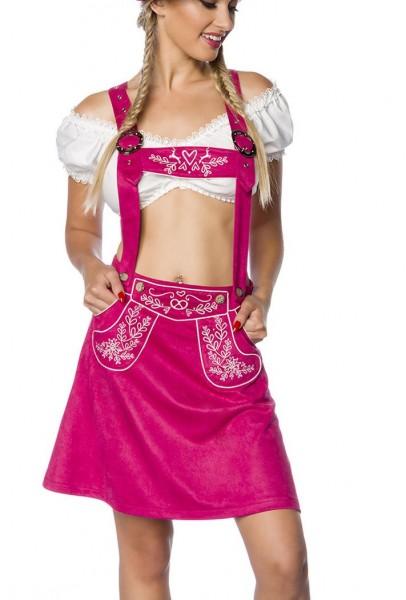 Pinker Damen Trachtenrock mit Hosenträgern und Stickereien Velourlsederoptik Bayrischer ausgestellt