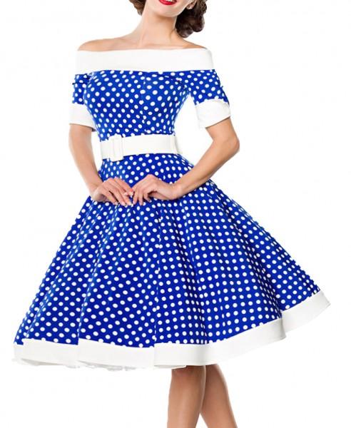 Blaues kurzes Swing Kleid im High Waist Schnitt mit Gürtel und Tellerrock weiß gepunktet und schulte