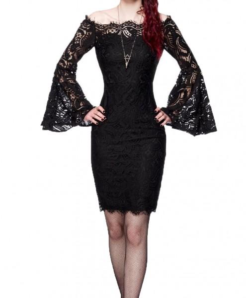 Spitzenkleid Damen Pencilkleid in schwarz mit Spitze Trompetenärmeln Vintagekleid mit langen Ärmeln