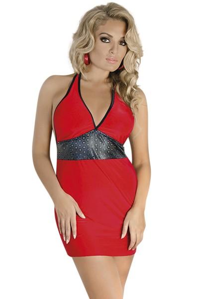 Rot/schwarzes Chemise Minikleid dehnbar und blickdicht Damen Dessous neckholder Kleid