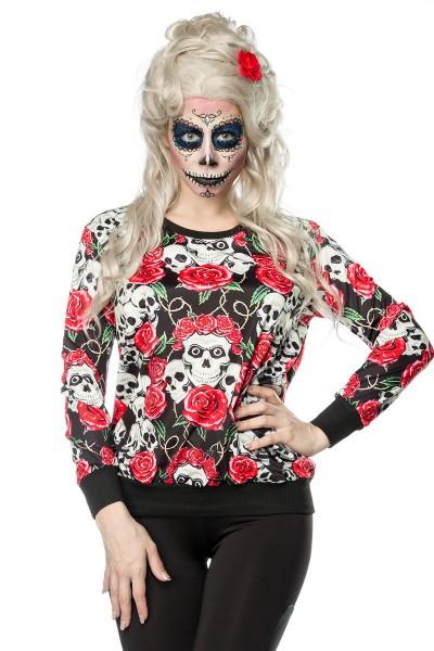 Buntes Damen Totenköpfe Sweatshirt mit Totenköpfe und Rosen Print Sweatshirt Faschingsverkleidung Ou