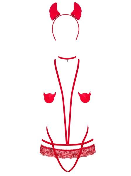Frauen BH Dessous Teddy Body in Rot mit Riemchen und Haareif transparent ouvert Teufel Neckholder au