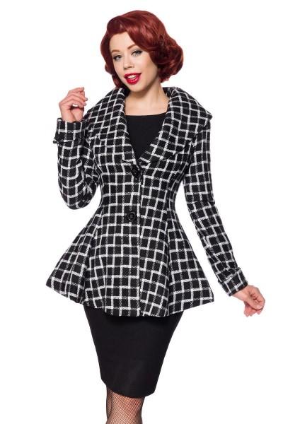 Schwarz weiße karierte Vintage Damen Woll-Jacke mit langen Ärmeln und Schalkragen Retro zum knöpfen
