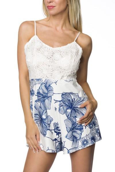 Damen Playsuit Hosenrock in weiß blau mit Blumen Print Anzug Jumpsuit mit Träger und Spitze