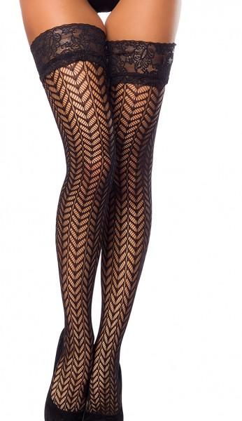 Schwarze halterlose Netz Strümpfe mit Spitzenabschluß und Blumenmuster Motiv Netz Stockings