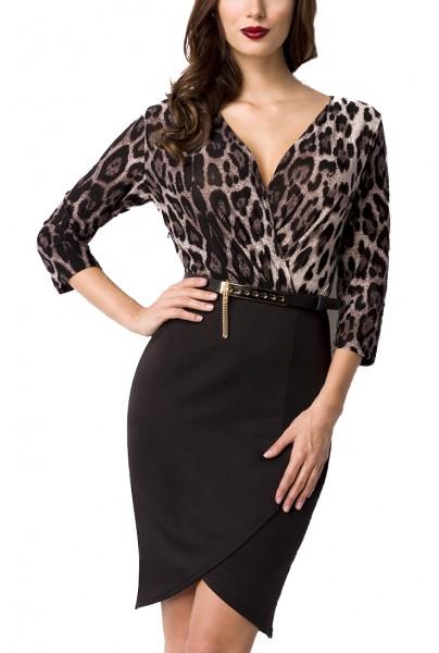 Schwarzes kurzes Abendkleid in Leopard Print mit asymmetrischer Saum V-Ausschnitt mit Gürtel dreivie