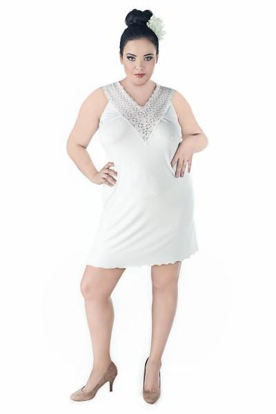 Damen Dessous Chemise in ecru mit Spitze weich und elastisch Damen Nachthemd Kleid