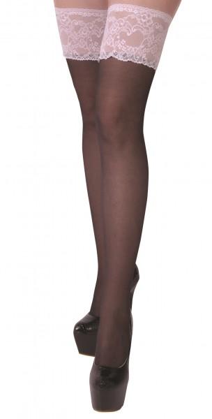 Halterlose Damen Dessous Strümpfe Stockings schwarz mit weißer Spitze und Silikonstreifen selbsttrag