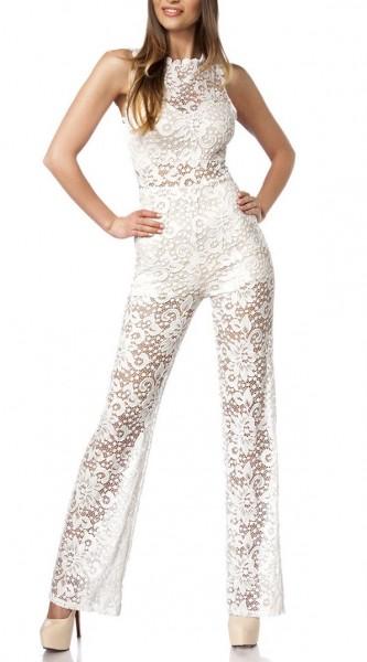 Weißes Damen Jumpsuit mit Häkelspitzenbesatz und Stoff in Blumenspitze Hosenbeine Hippy Style
