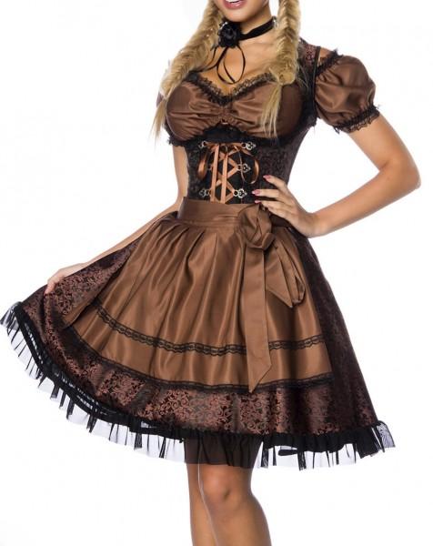 Dirndl Kleid Kostüm mit Bluse und Schürze aus Jacquard Stoff und Spitze Oktoberfest Dirndl braun/sch