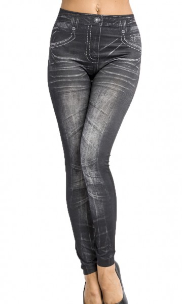 Graue Jeans Leggings mit Nähten und Nieten Print und Waschung Design Taschen Druck elastische Leggin