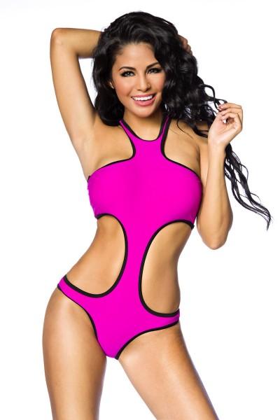 Pinker Damen Bade Monokini farbiger Badeanzug mit Cups