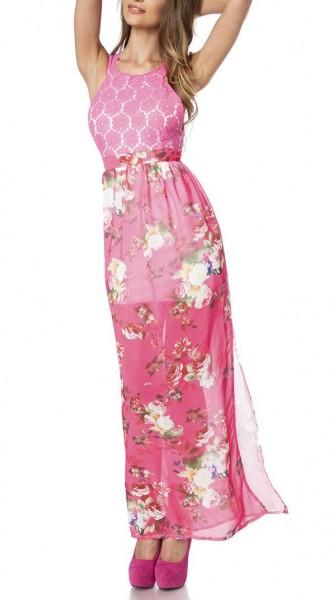 Maxikleid luftig Damen Sommerkleid in bunt mit Muster Rosen-Design aus Spitze hochgeschlitzt Kleid