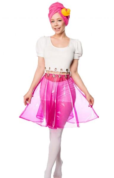 Damen Halloween Nixe Dusch Mädchen Kostüm aus Höschen, Kleid, Turban, Badefrau-Kostüm in weiß/pink O