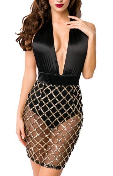 Schwarzes Neckholder Kleid mit transparentem Rockteil und eingenähtem Hösschen tiefer Ausschnitt Grö
