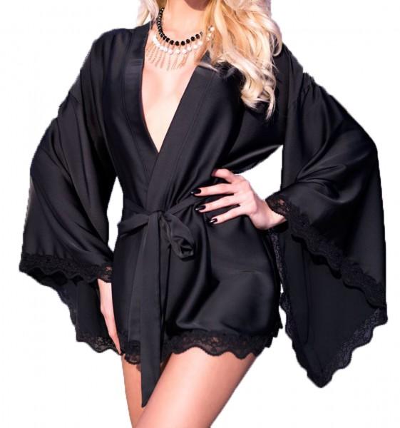 Elegante Dessous Robe Morgenmantel und String in schwarz aus Satin und Spitze langarm