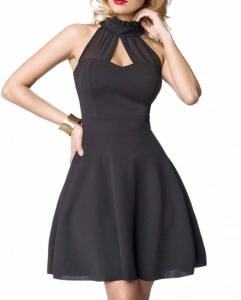 Schwarzes Neckholder Abendkleid mit Kragen und ausgestelltem Rockteil Chiffon Einsatz