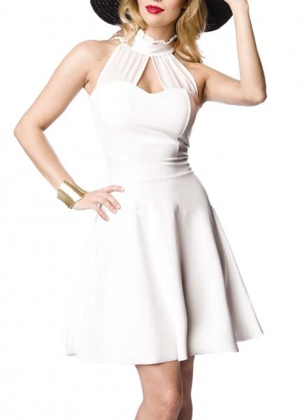 Weißes Neckholder Abendkleid mit Kragen und ausgestelltem Rockteil Chiffon Einsatz